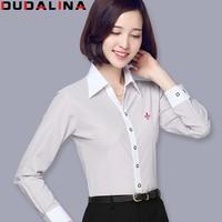 Dudalina Embroidery Female Shirts Lady 2017 New Fashion White Blouse Shirts Women Long Sleeve Tops Blusas