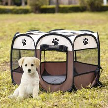 Pet Playpen Kennel House Tent Breathable Indoor Outdoor Folding Kennel Portable Fence Dog Cat Puppies Kitten Animal Cave Pet bed(China)