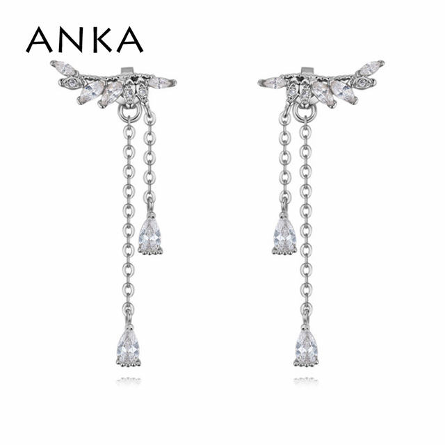 Anka New Fashion Gold Color Women Jewelry Angel Wings Earrings Gifts Feather Eardrop Party Jewellery Cubic