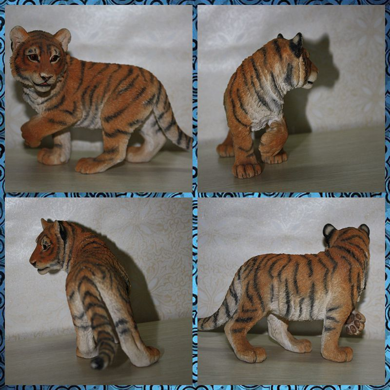 Free shipping Monster Tiger Vivid Lifelike Wild Animal Figure Resin toy cake home office car decoration party supply gifts