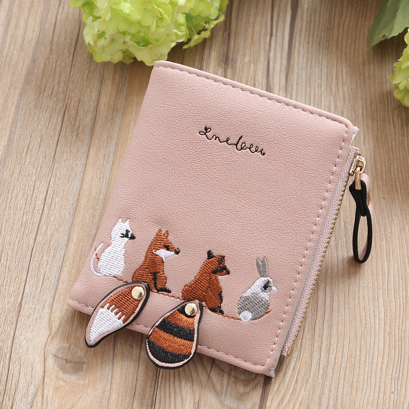 Embroidery Women Wallet Short Individuality Squirrel PU Leather Hasp Zipper Mini Coin Card Holder Cute Cartoon Purse Female