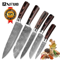 XITUO 5PCS Messenset Pakka Kitchen Knives Japanese Damascus Steel Pattern Chef Knife Santoku Paring Santoku Slicing Utility Tool