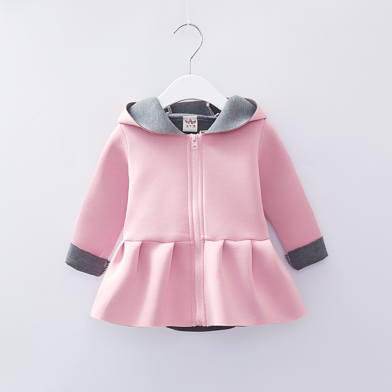 2018 New Girl Winter Coat Hooded Long Sleeved Rabbit Ears Pattern for Kids Girls Autumn Jackets Outerwear Clothes