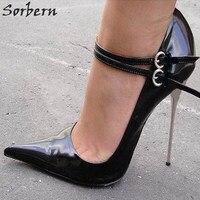 Sorbern сексуальные туфли на шпильке острый носок 12 см/14 см серебристого металла на высоком каблуке Для женщин Туфли лодочки 2018 г. Женская италь