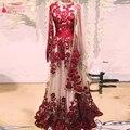 Vermelho Vestidos de Baile Árabe Com Sari Indiana Vestidos De manga Comprida Lace Apliques charming Importante Noite Formal Gelinlik Z990