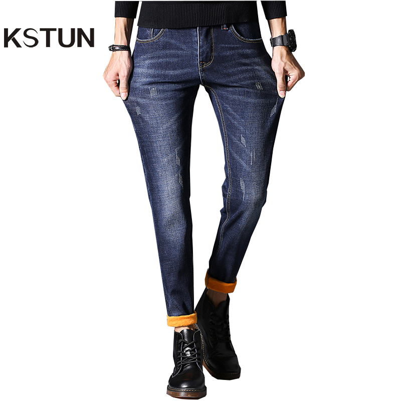 KSTUN Jeans Men Autumn and Winter Quatliy Brand Black Blue Denim Pants Slim Fit Warmer Fleece Thicken Boys Leisure Long Trousers 9