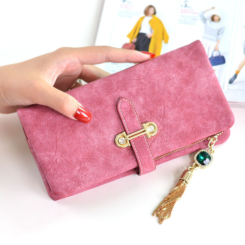 2019 Designer Brand Women Wallets Drawstring Nubuck Leather Zipper Wallet Women's Long Casual  Design Purse Card Two Fold Clutch