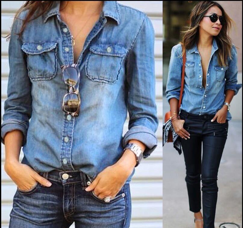 Long-sleeved Water Denim Tops Blouses Women Fashion Work OL Shirts Summer Female Blouse Plus Size 5XL