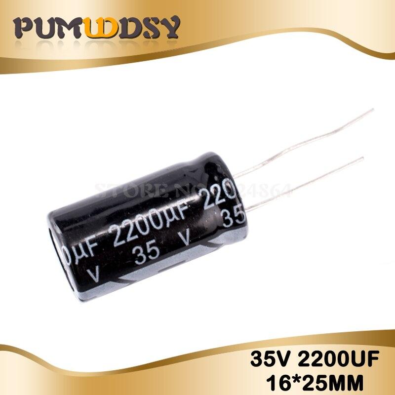 5PCS Higt Quality 35V2200UF 16*25mm 2200UF 35V Electrolytic Capacitor