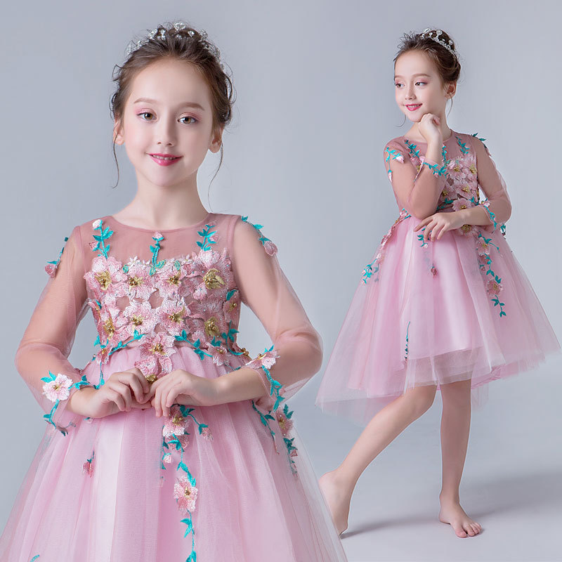 2019 Kids Girls Wedding Party Dress Children Princess Pearls Formal Vestidos Teenage Girls Tulle Embroidery Flower Frocks Q1862019 Kids Girls Wedding Party Dress Children Princess Pearls Formal Vestidos Teenage Girls Tulle Embroidery Flower Frocks Q186