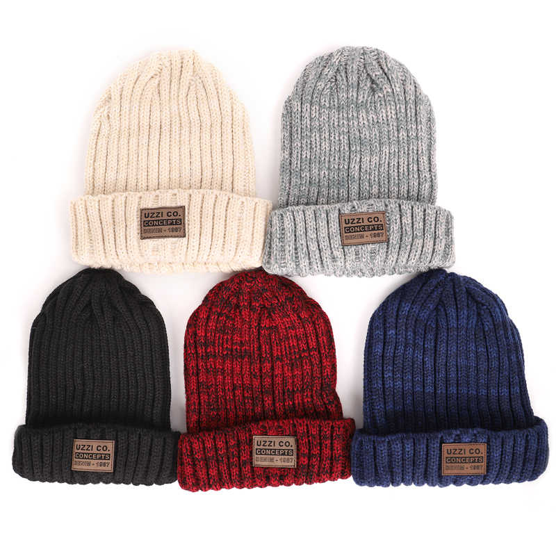 84581883bab25 ... Men's winter knit cotton caps warm and comfortable unisex ladies ski  hats solid color male leather