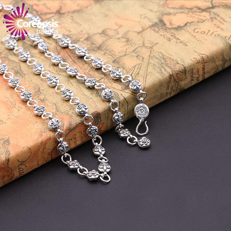 COREOPSIS S925 Sterling silver Jewelry Thai Silver Style unisex Universal Korea version pendant with chain lily ball necklace