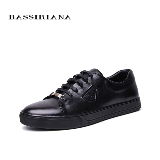 Bassiriana/Новые 2018 из натуральной коровьей кожи мужская повседневная обувь модные на шнуровке с круглым носком черный, синий весна-осень 39-45 размер ручной работы