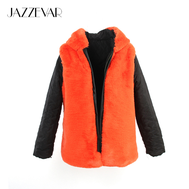 JAZZEVAR 2017 New Fashion High Quality Women's Outer hooded Faux Fur Liner 1