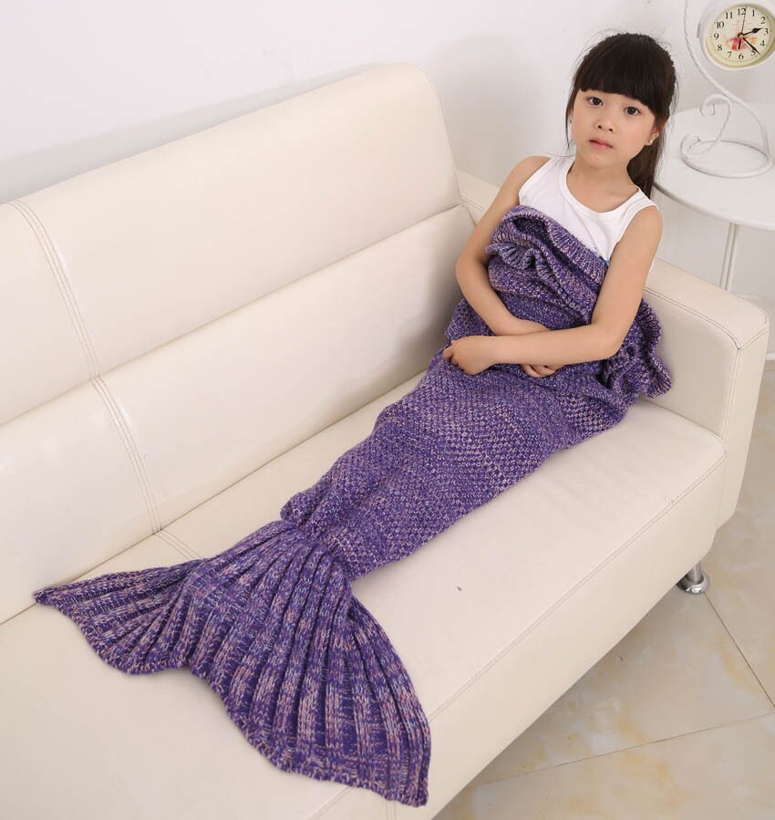 140*70cm Kid knitted Mermaid Tail Blanket Throw Bed Wrap Super Soft Sleeping Bag Handmade Crochet Mermaid Blanket soft color splicing knitted mermaid tail blanket