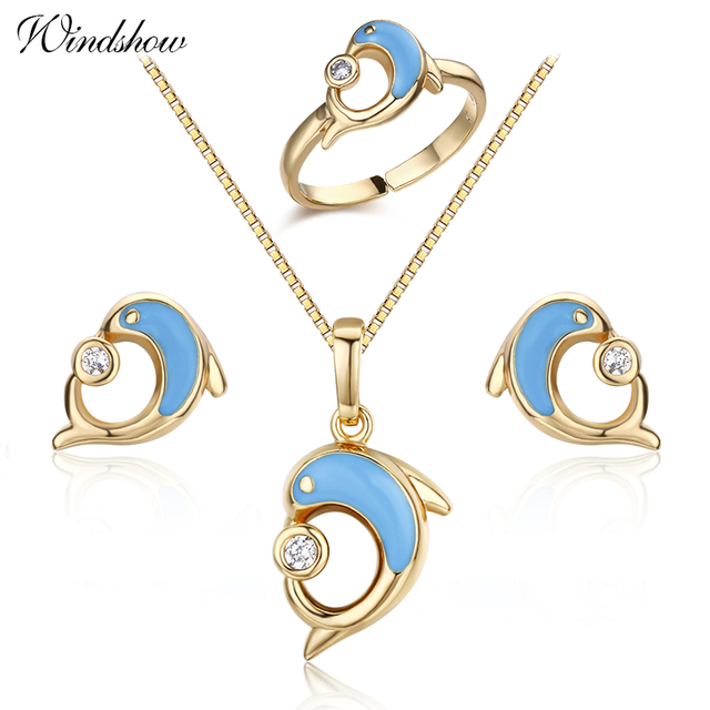 Gold color blue dolphin play cz ball stud earrings ring pendant gold color blue dolphin play cz ball stud earrings ring pendant necklace animal small jewelry sets mozeypictures Choice Image
