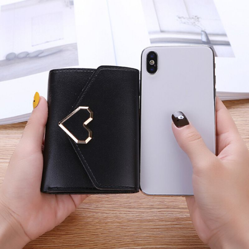 Women's Wallet For Credit Card Metal Heart-shaped Leather Short Section Three-folded Wallet Elegant Female Wallet Card Package