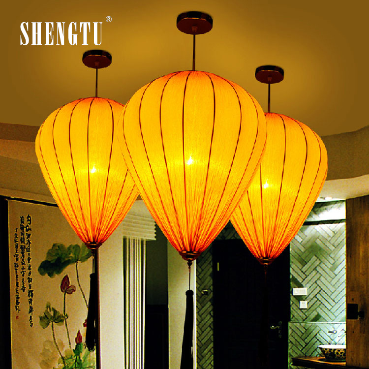 New Chinese Fabric Pendant Lamp Bar Engineering Cafe Restaurant Red Lantern Club Art Light In Lights From