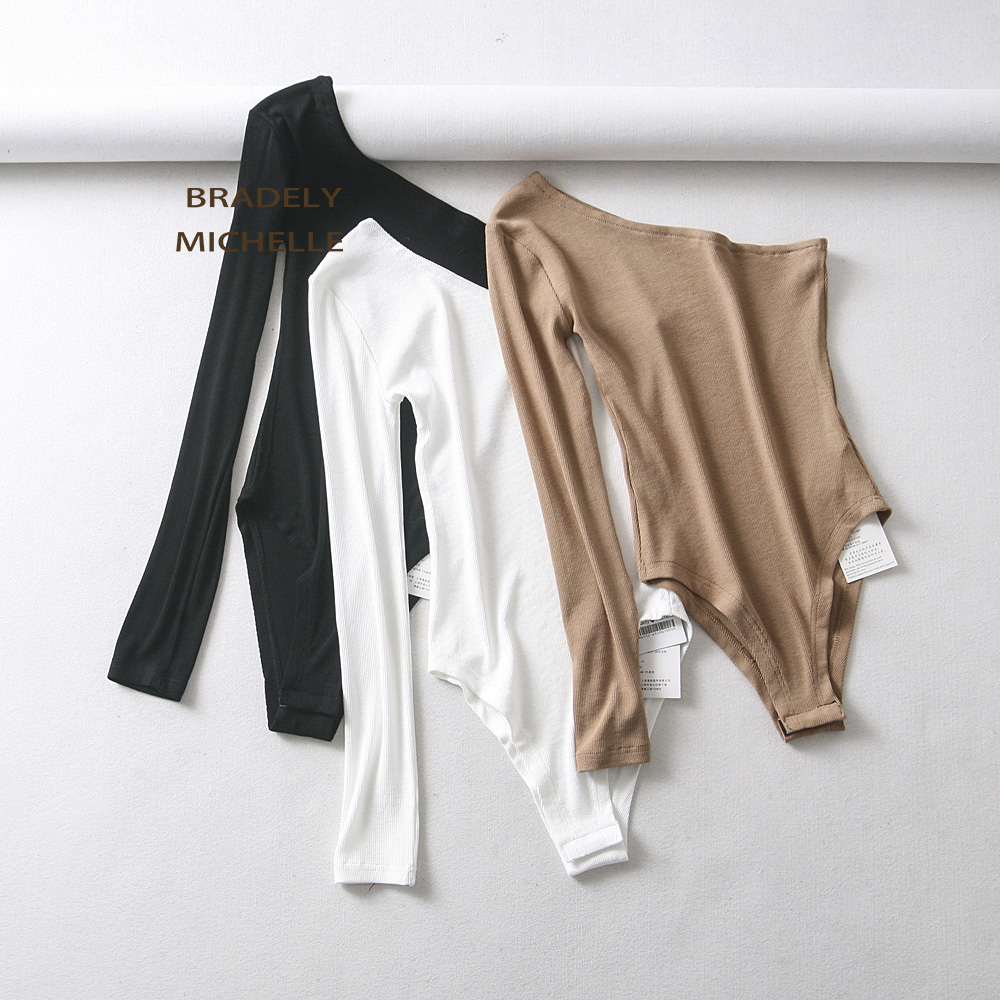 BRADELY MICHELLE New Fashion Women Sexy Strapless Single Sleeve Bodysuit Autumn Ladies Under Tops Cotton Jumpsuit Rompers