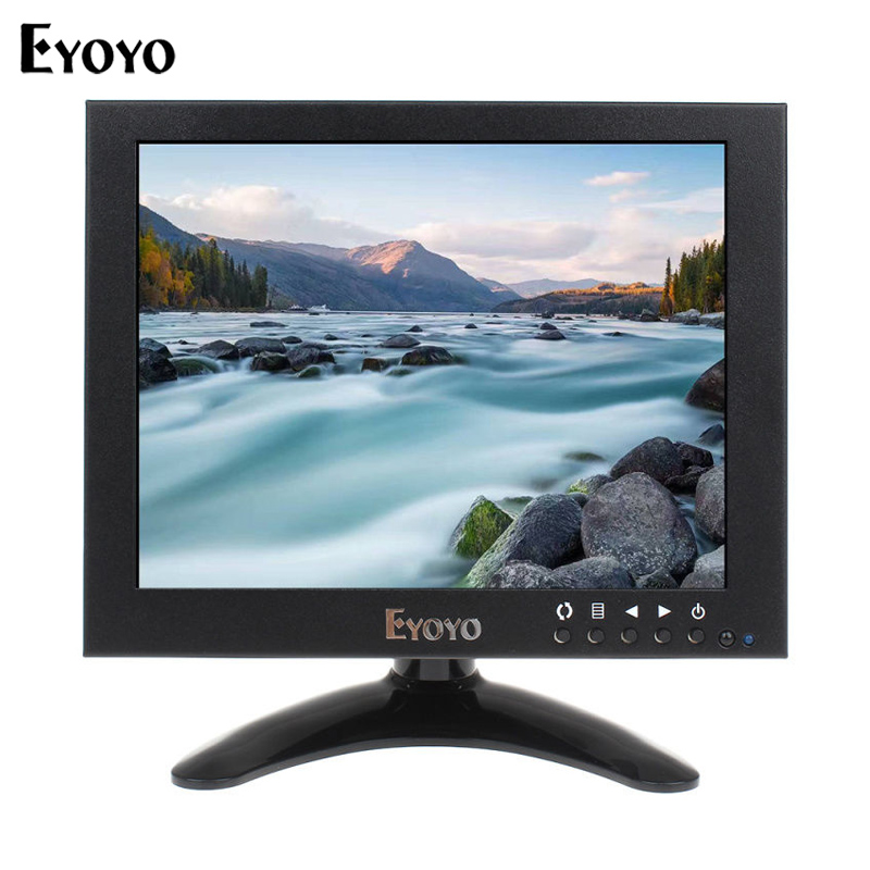 Eyoyo JSWHD08 8 Inch IPS LCD HD Monitor 1024*768 1080P CCTV Camera Video Monitor HDMI VGA BNC AV Display for PC Laptop Game lilliput tm 1018 o p 10 1 led ips full hd hdmi field touch screen camera monitor with hdmi input
