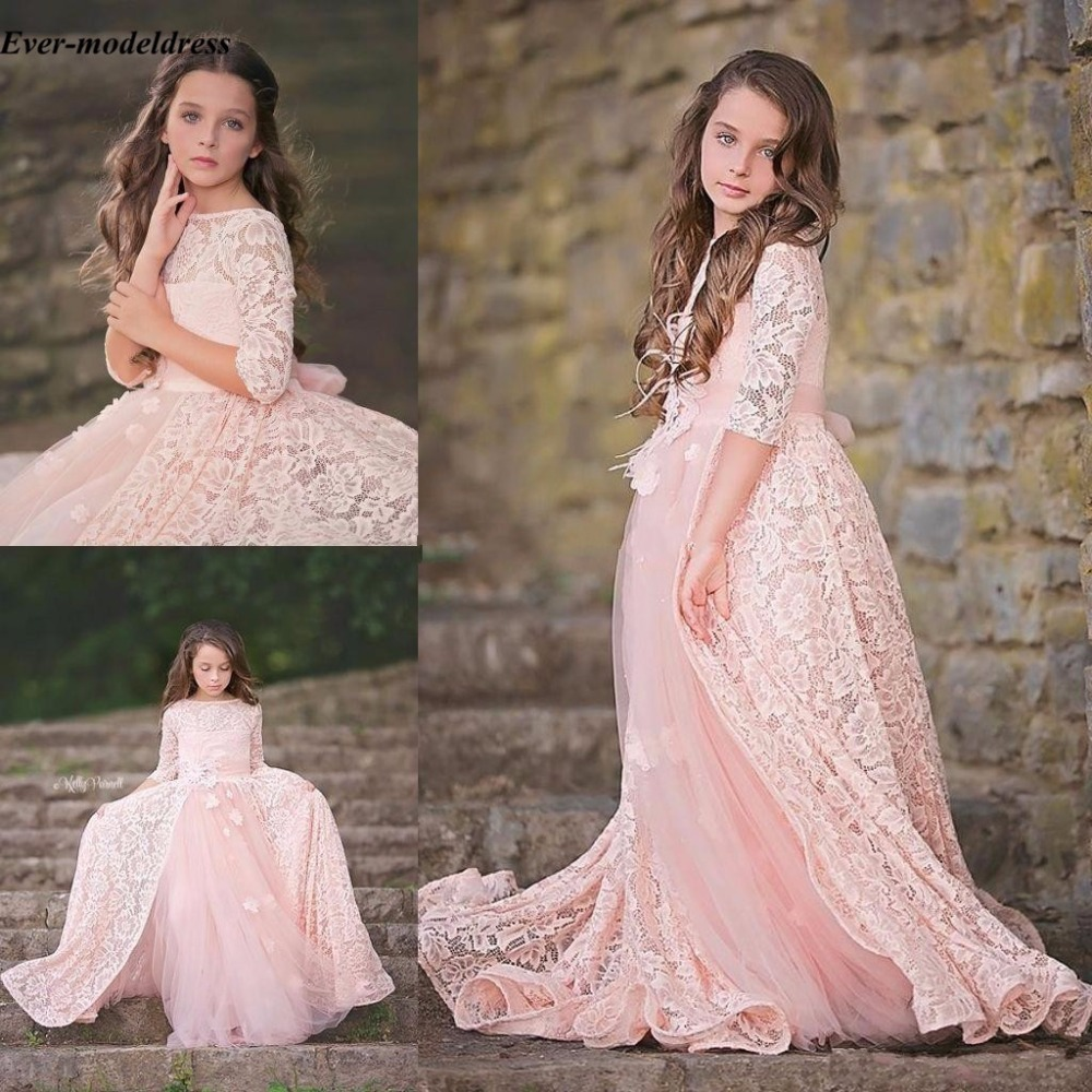 Pink Lovely Flower Girl Dresses 2018 Long Sleeve A-Line Backless Appliques Birthday Party Pageant Girls First Communion Gowns