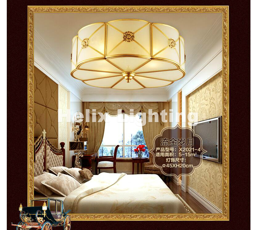 Nordic Bronze American Countryside Style Wrought Iron LED AC Ceiling Light Art Asile Lamp Bedroom Decoration Lamp Free Shipping