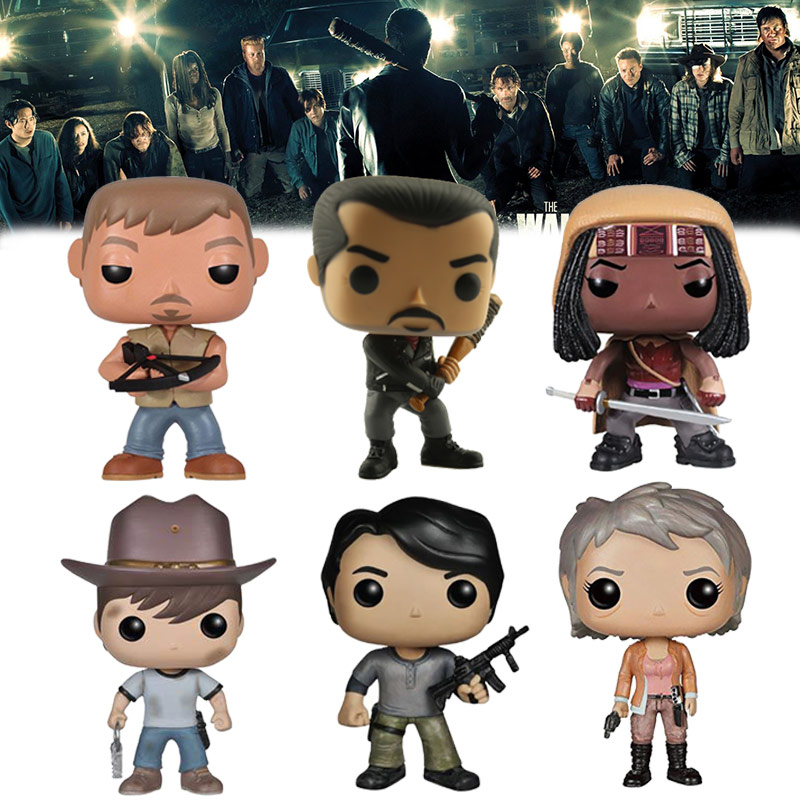 Hot The Walking Dead MovieToys DARYL DIXON NEGAN CARL GLENN MICHNNE RICK Action Figure Bobble Head Q Edition For Car Decoration