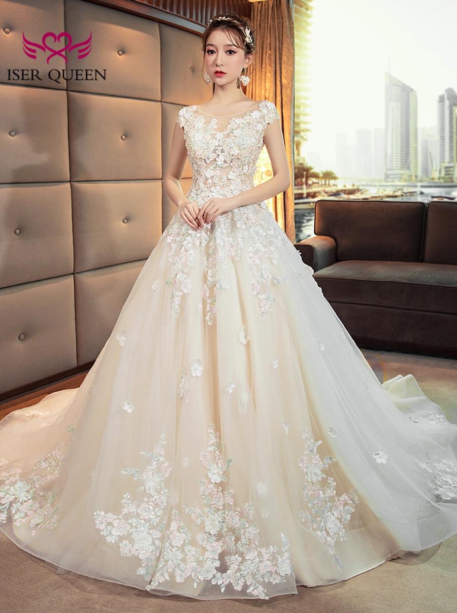 Elegant Floral Arab Long Train Wedding Dress 2019 Sheer Neck Plus Size Romantic Luxury Flower Wedding Gown Bridal Dress WX0137