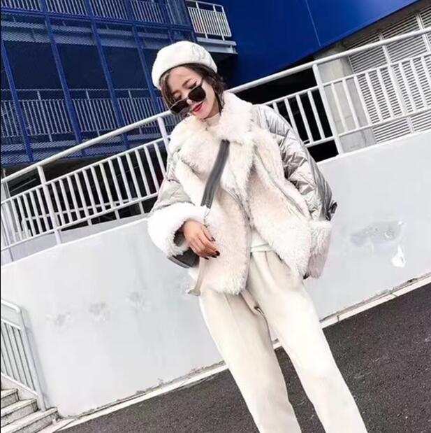 De Argent Jassen Réel Hiver Dames Outwear D'agneau Manteaux À Lâche Naturel Chaud Fourrure 2 Étanche Manchette 1 Capuche Grand Vestes Épais YwTBxw