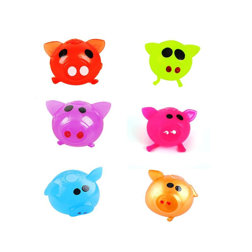 6 Pcs/lot Antistress Decompression Splat Ball Vent Toy Smash Various Styles Pig Toys Slime Gadget Funny Toys Gifts Whole