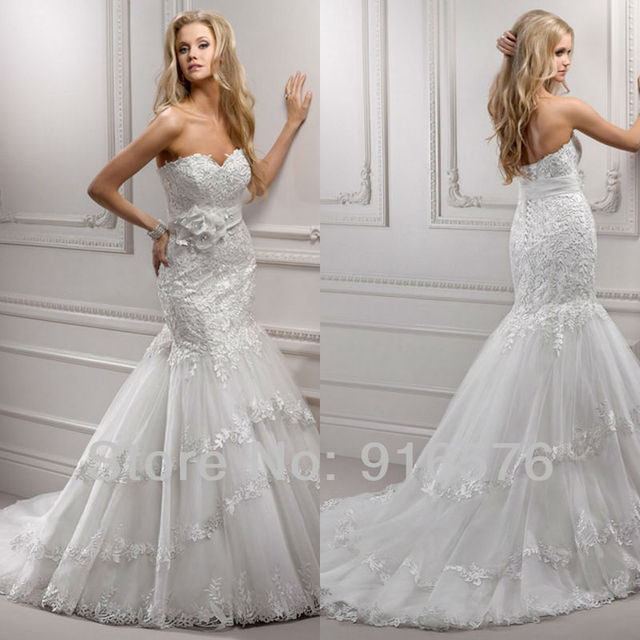 Stunning Court Train High Waist Mermaid Sweetheart Lace Handcrafted Floral Wedding Dresses Bridal Gowns