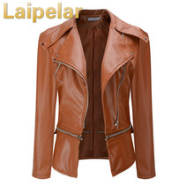Autumn Plus Size Fashion Women Jacket PU Leather Outwear Coat Windproof Windbreaker Casaco Feminino Laipelar
