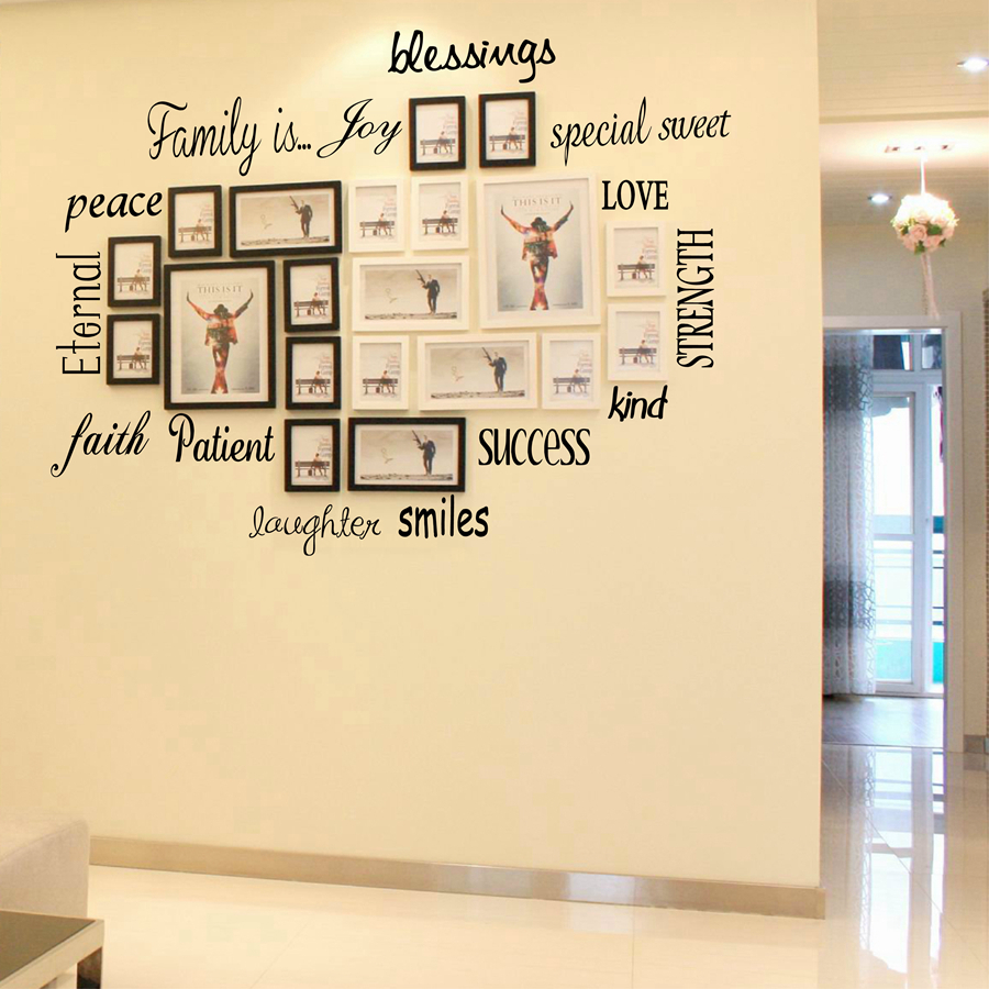 Free Shipping Family Is Vinyl Wall Lettering Quote Wall: FAMILY IS,blessing,Peace ...16 Lettering Words Vinyl Wall