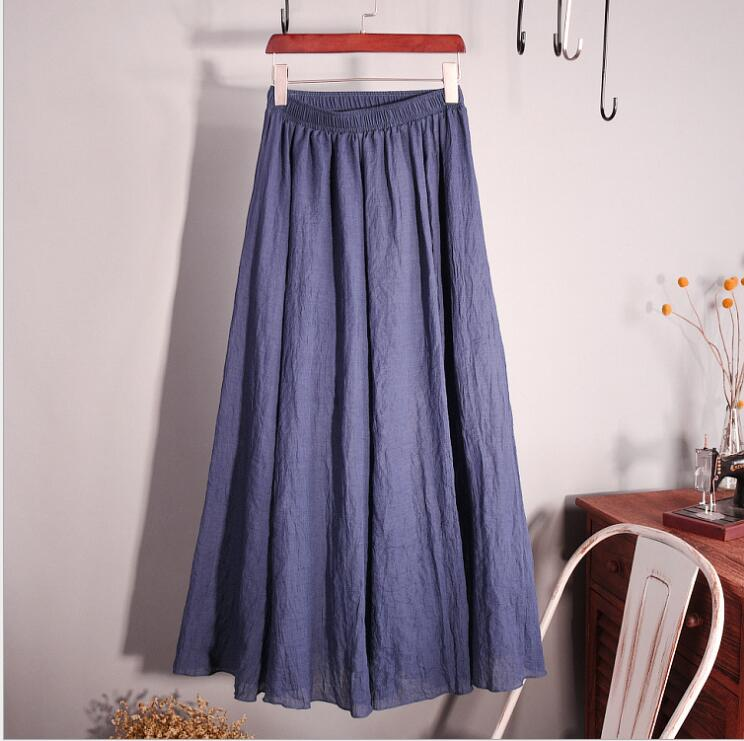 Cotton Linen Maxi Skirt Women Spring Summer Elastic Waist Vintage Solid Pleated Long Skirts Mori Girl Boho Beach Skirt QH1755