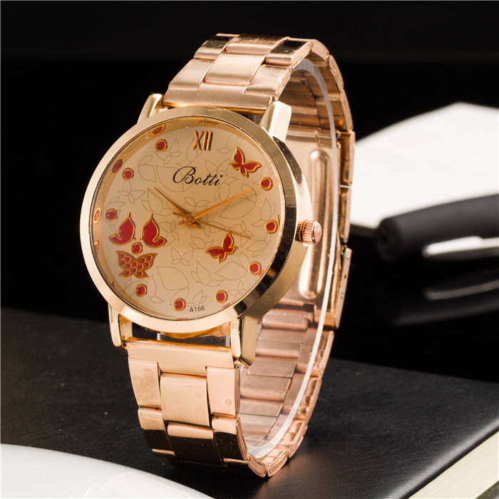 New Ybotti Famous Brand Rosy Gold Heart Casual Quartz Watch Women Stainless Steel Watches Relogio Feminino Ladies Clock Hot Sale wristwatch new famous brand binger geneva casual quartz watch men stainless steel dress watches relogio feminino man clock hot