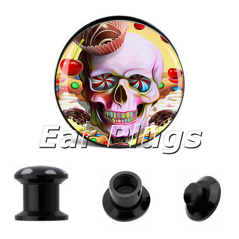 1 pair cupcake sugar skull ear plug gauges tunnel acrylic screw flesh tunnel body piercing jewelry PAP004
