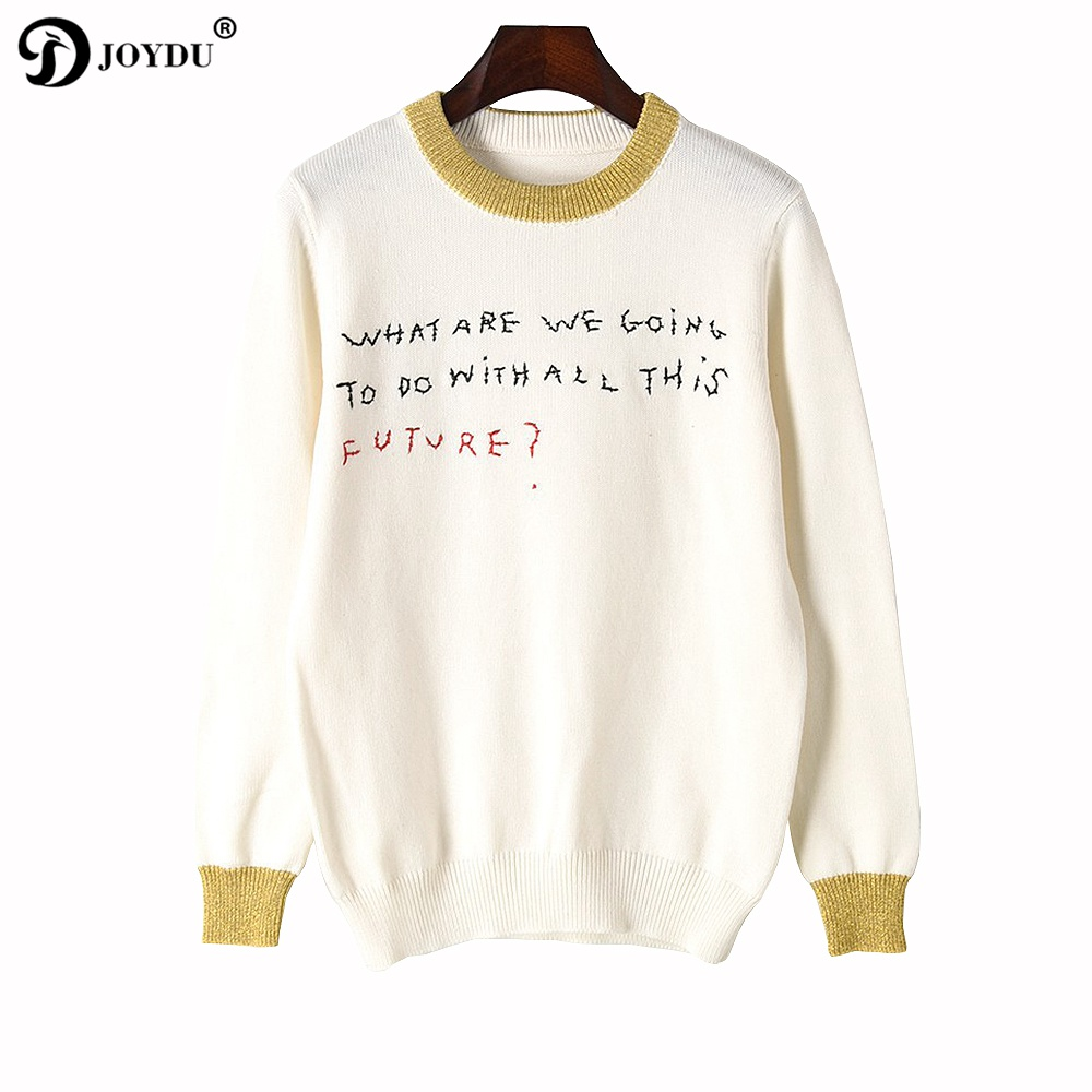 JOYDU Letters Embroidery Wool Sweater Women 2017 New Winter Korea Sweater Runway Design Gold Silk Patchwork Pullover Knit Jumper charter club new blue sky women s medium m cable knit crewneck sweater $59 359