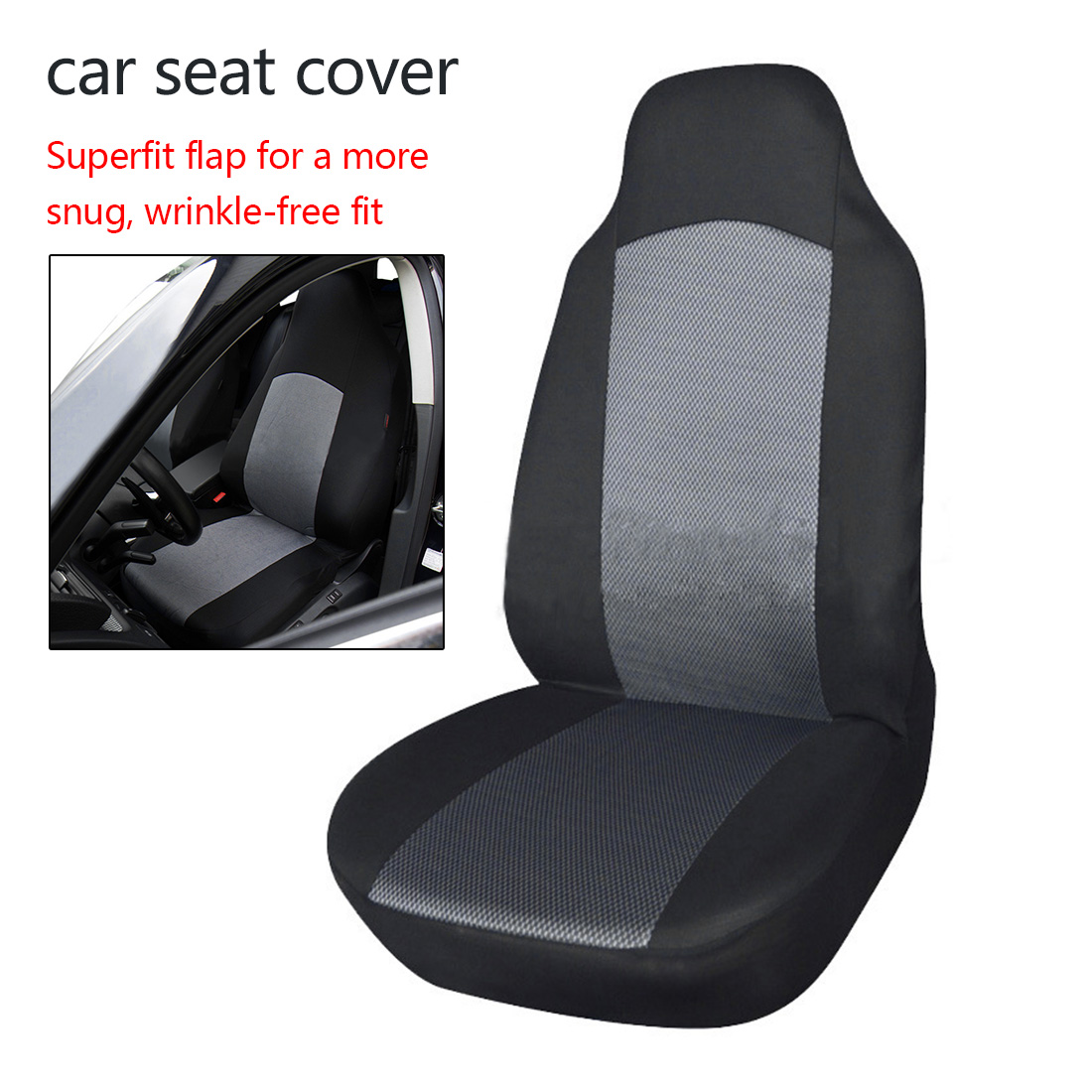 Dewtreetali Universal Front Seat Cover Sandwich Fabric Fit for Bucket Seat Breathable Car Seat Protector Black Car Accessories