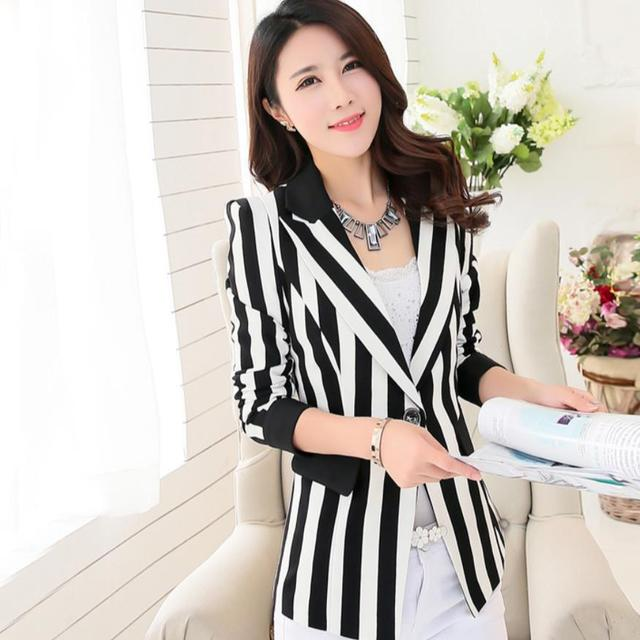 Women Blazer Jackets Black And White Stripes Blazer Outerwear Plus Size 3XL blaser feminino