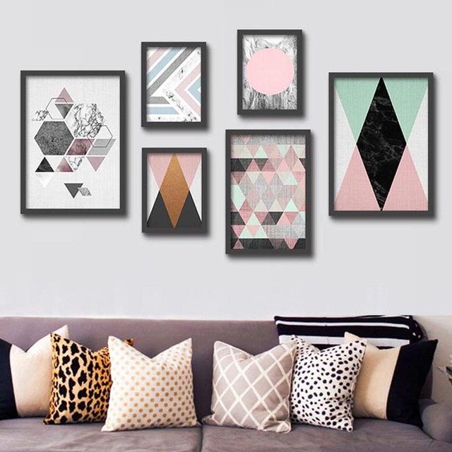Abstract Marble Canvas Painting Geometric Wall Art Pictures Nordic Pop  Poster Print For Office Living Room