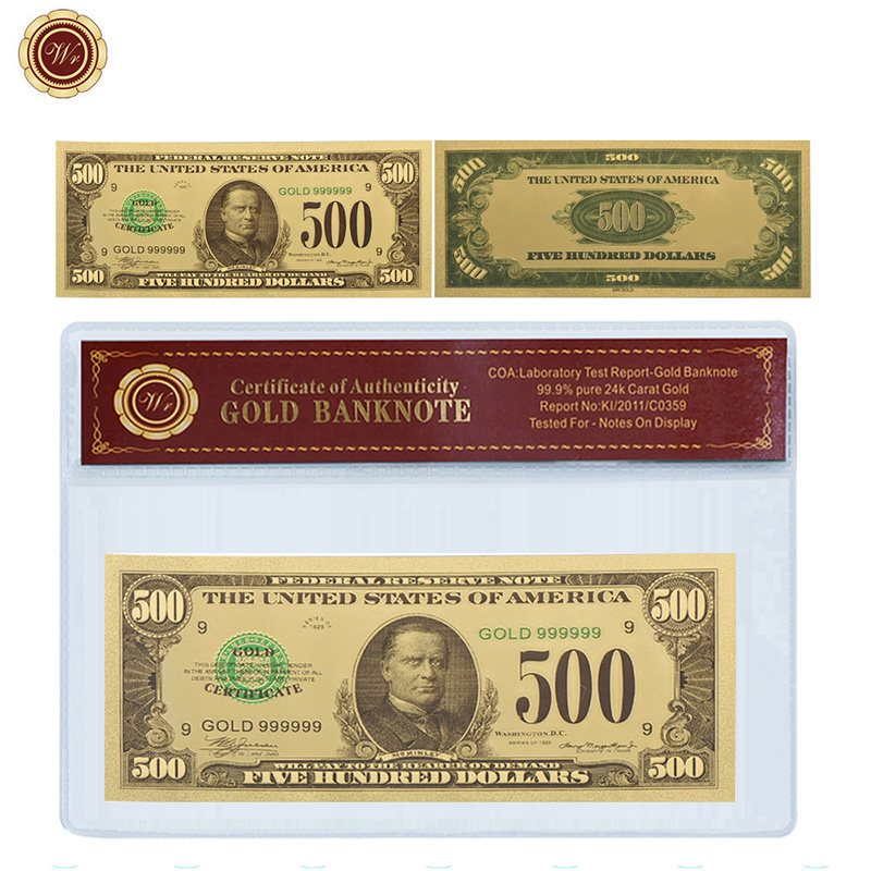 WR American Colorful 24k Pure Gold Banknote Collectible Currency Bill Note Art Ornament with Plastic Case Value Collection