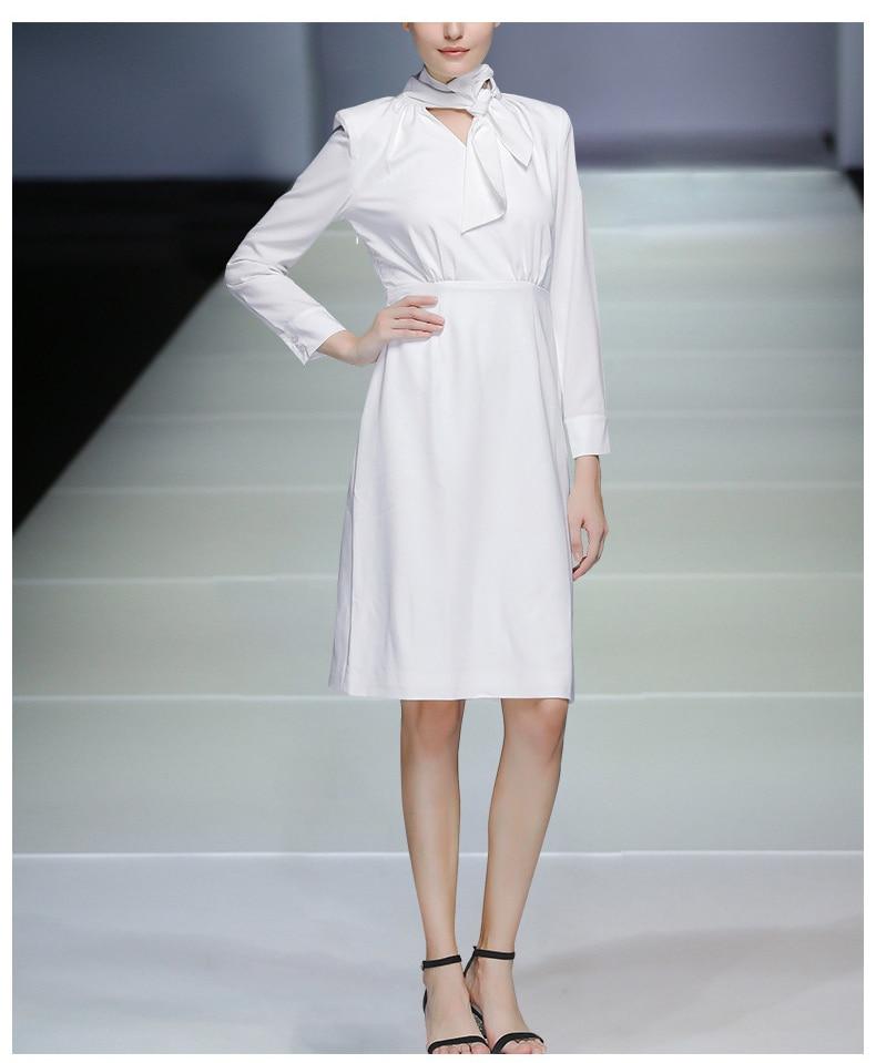 High Quality Autumn Fashion Women Dress 18 New Solid Long Sleeve Bow Collar Elegant Knee-Length Dresses Vestidos C2361 4
