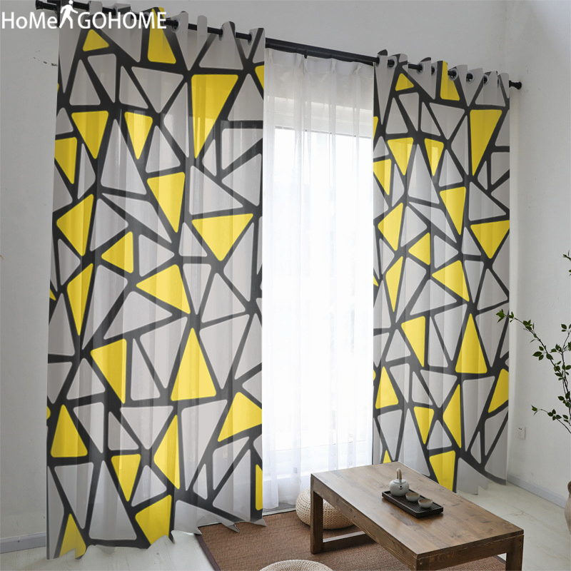 Yellow And Gray Lattice Geometric Window Curtain Curtains Voile Modern Living Room Curtains Tulle Sheer Fabrics Rideaux Cortinas