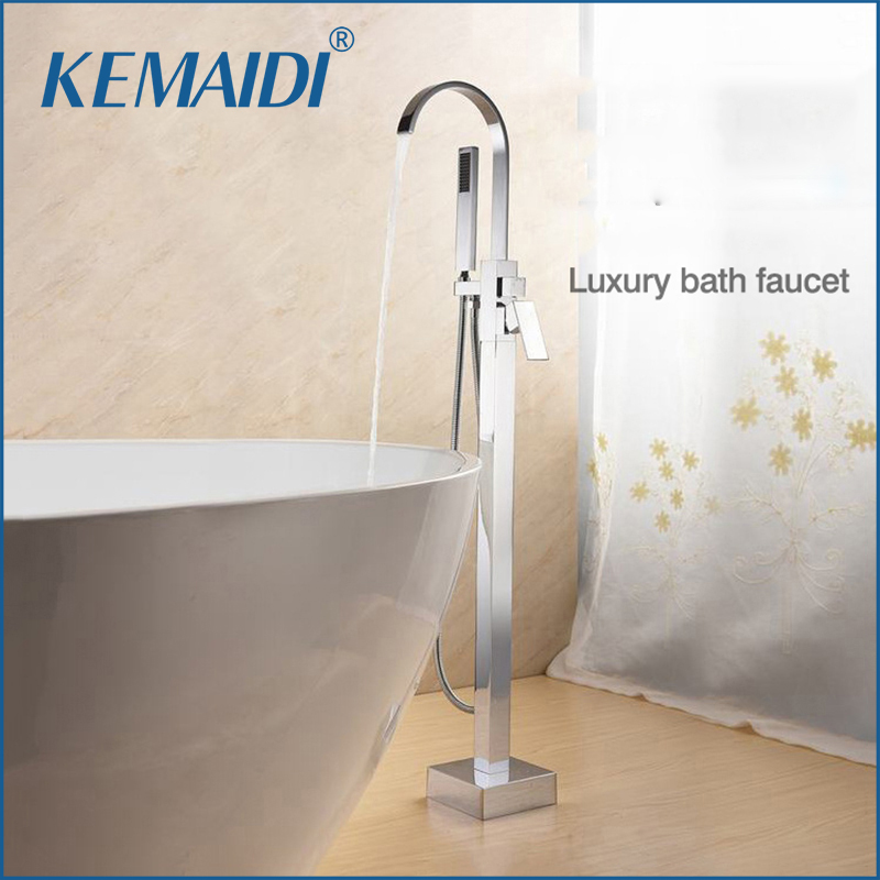 WELS And CUPC Bathroom Floor Standing Bath Tub Faucet Mixer Set Hand Held Shower Chrome Solid