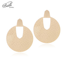 Badu Gold Silver Stud Earring Big Round Geometric Exaggerated Studs for Women Vintage Statement Jewelry Wholesale