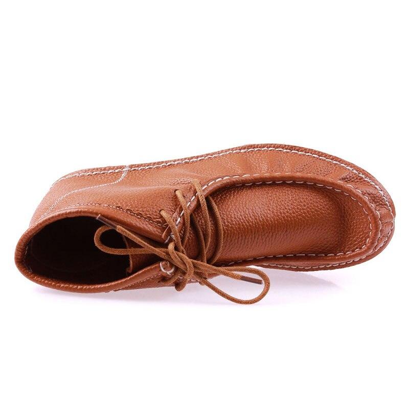 Beckywalk Las Zapatos Mujeres Cuero amarillo Plano Dedo Invierno up Lace Azul Martin Pie Señoras naranja Redonda Botas Del De Genuino Mujer Talón Wsh3059 marrón rSrq4