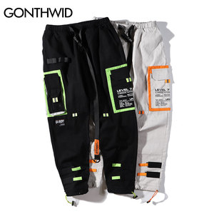 Image 5 - GONTHWID Çok Cepler Kargo Harem koşucu pantolonu Erkekler Hip Hop Moda Rahat Parça Pantolon Streetwear Harajuku Hipster Eşofman Altı
