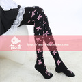 Princess sweet lolita pantyhose Pink bow cute  dot black cotton pantyhose spank soft amo lolita  thick warm autumn