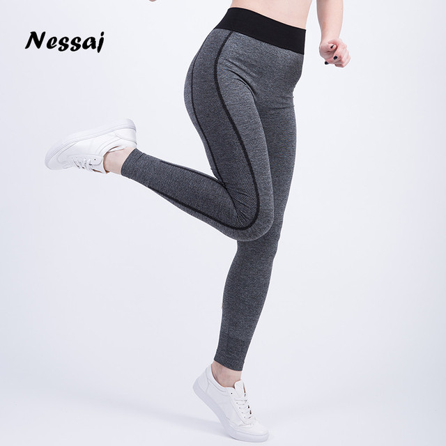 Nessaj Women Sexy Cropped Leggings High Waist Elastic Wicking Force Exercise Female Elastic Stretchy Leggings Slim Trousers 34 C