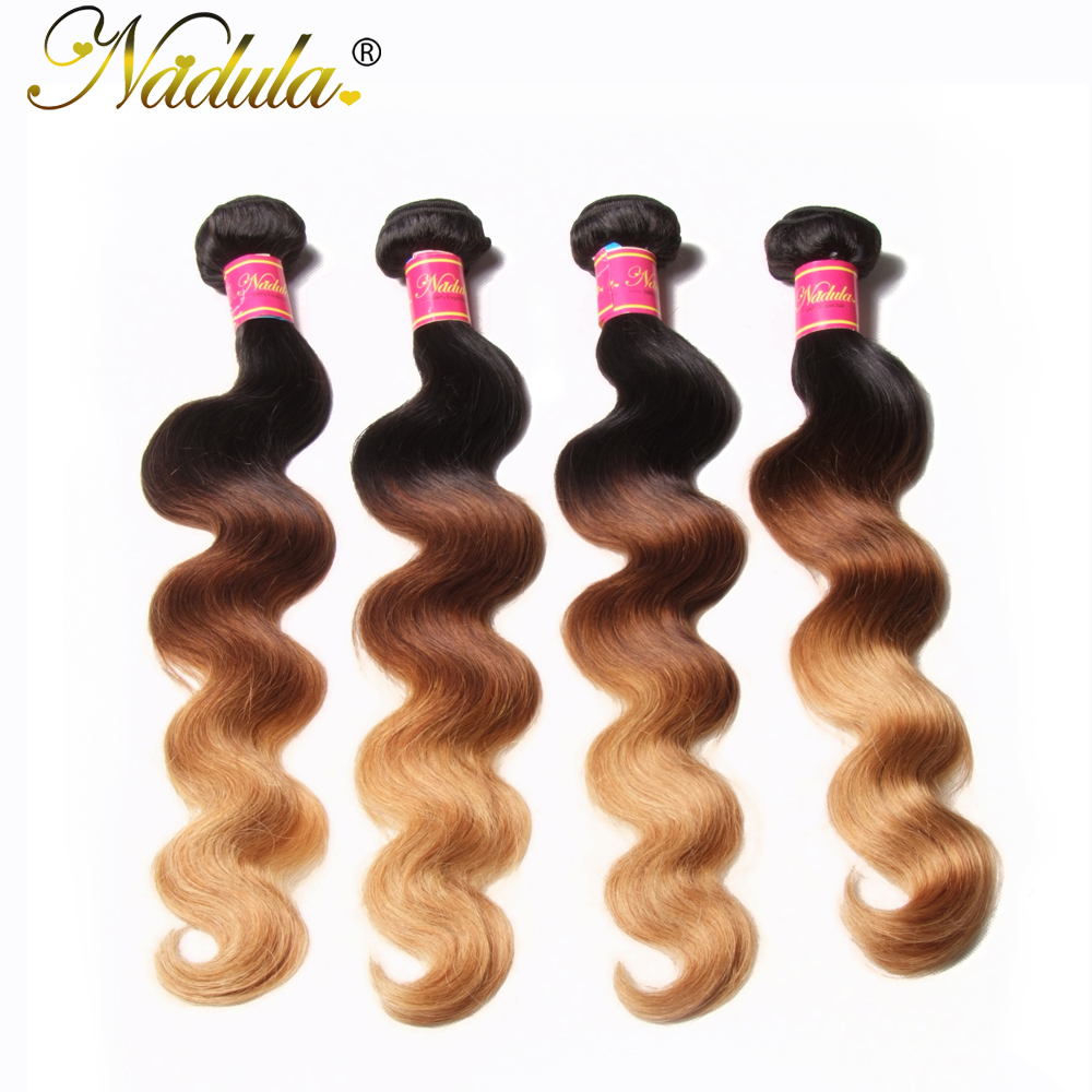Nadula Hair  Body Wave Ombre Hair Bundles T1B/4/27 3 Tone  Hair s Machine Double Weft 1Bundle Can Be Mixed 5